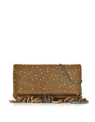 Zadig And Voltaire Rock Hippie Tan Suede Fringe Clutch