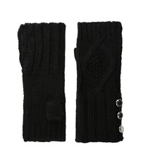 Michael Michael Kors Classic Hand Knit Cable Armwarmer Black Extreme Cold Weather Gloves