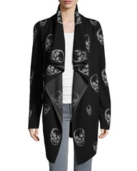 Marled By Reunited Clothing Skull Print Open Front Cardigan Black