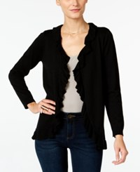 Inc International Concepts Petite Ruffled Cardigan Only At Macy's Deep Black