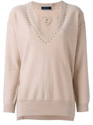 Twin Set V Neck Sweater Nude And Neutrals