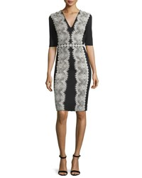Catherine Deane Embroidered Lace Jersey Cocktail Dress Black Silver