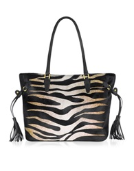 Fontanelli Large Calfhair Animal Print Tote Black