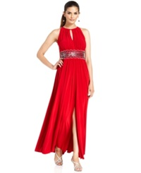 R And M Richards Sleeveless Beaded Evening Gown Red