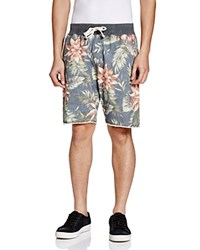 Jachs Floral Print Sweat Shorts Washed Blue