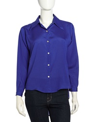 Naven Long Sleeve Contrast Button Blouse Electric Blue