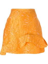 Msgm Ruffled Floral A Line Skirt Yellow And Orange