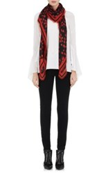 Givenchy Women's Floral Wool Silk Twill Shawl Red