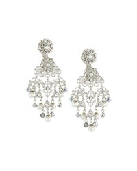 Jose And Maria Barrera Silvertone Crystal And Pearly Filigree Chandelier Earrings