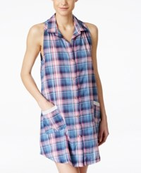 Lucky Brand Sleeveless Collared Printed Sleepshirt Navy Plaid
