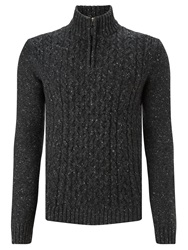 John Lewis Frosty Cable Knit Zip Neck Jumper Charcoal