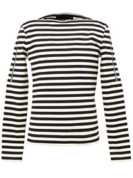 Juun.J Zip Trim Striped T Shirt Black
