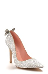 Shoes Of Prey Women's Pointy Toe Pump White Lace