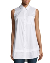 Neiman Marcus Tiered Sleeveless Button Front Blouse White