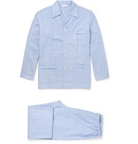 Derek Rose Arran Herringbone Brushed Cotton Pyjamas Blue