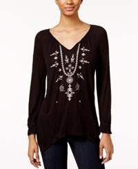 American Rag Embroidered Handkerchief Hem Top Only At Macy's Black