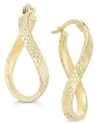 Macy's Patterned Twisted Hoop Earrings In 10K Gold Yellow Gold