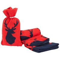 John Lewis Stag Socks In A Bag One Size Red Navy