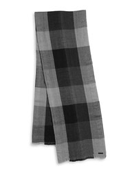 Calvin Klein Open Weave Plaid Scarf Charcoal