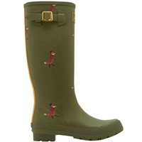 Joules Fox Print Wellington Boots Green