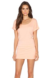 Bobi Supreme Jersey Short Sleeve Dress Peach