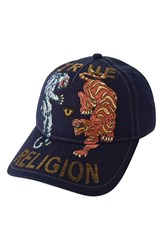 Men's True Religion Brand Jeans 'Panther Tiger' Baseball Cap Blue True Navy