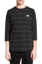 Nike Men's Sb Dri Fit Stripe Baseball T Shirt Black White