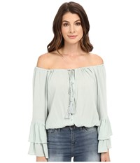 Culture Phit Coralee Woven Top With Tassels Sage Women's Clothing Green