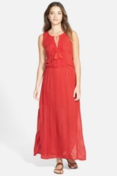 Hinge Lace Trim Maxi Dress Red