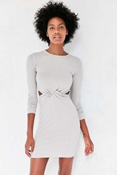Silence And Noise Knot Front Long Sleeve Mini Dress Silver