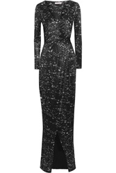 Matthew Williamson Printed Satin Jersey Wrap Gown Black