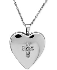 Macy's Diamond Accent Heart Locket Necklace In Sterling Silver