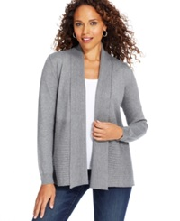 Karen Scott Petite Long Sleeve Cable Knit Cardigan Only At Macy's Charcoal Heather