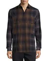 Helmut Lang Gradient Plaid Large Pocket Shirt Brown Brown Pattern