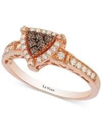 Le Vian Chocolatier Chocolate And Vanilla Diamond Triangle Ring 1 3 Ct. T.W. In 14K Rose Gold
