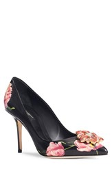 Dolce And Gabbana Women's Floral Pointy Toe Pump Black Floral