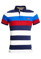 Superdry Duo Hoop Stripe Polo Shirt Navy