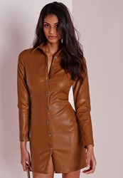 Missguided Faux Leather Fitted Shirt Dress Tan