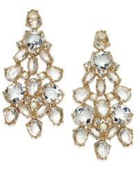 Kate Spade New York Gold Tone Crystal Chandelier Earrings Cream Multi
