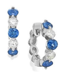 Macy's Sapphire 3 8 Ct. T.W. And Diamond 1 5 Ct. T.W. Hoop Earrings In 14K White Gold