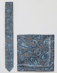 Asos Paisley Tie And Pocket Sqaure Pack Blue