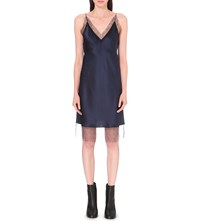 Walk Of Shame Lace Trim Silk Satin Slip Dress Navy