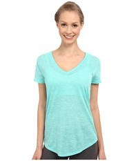 Alo Yoga Deep V Neck Shirt Island Green Marble Women's Short Sleeve Pullover
