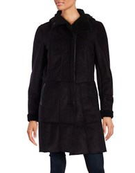 French Connection Faux Fur Trim Hooded Jacket Black