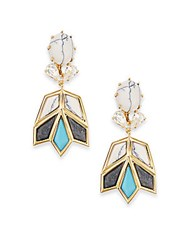 Lele Sadoughi Egyptian Deco Howlite And Marble Lotus Drop Earrings Gold Multi