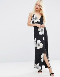 Asos Wrap Cami Maxi Dress In Oversized Floral Print Multi