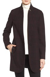Michael Michael Kors Women's Plaid Wool Blend Coat Red Plaid