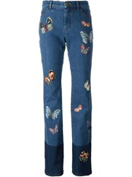Valentino Butterfly Patch Jeans Blue