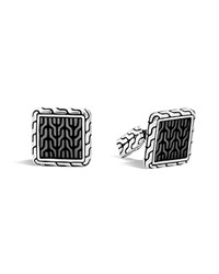 John Hardy Classic Chain Sterling Silver Enamel Square Cufflinks With Transparent Grey Enamel Grey Silver