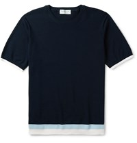 Tomorrowland Stripe Trimmed Knitted Cotton T Shirt Blue